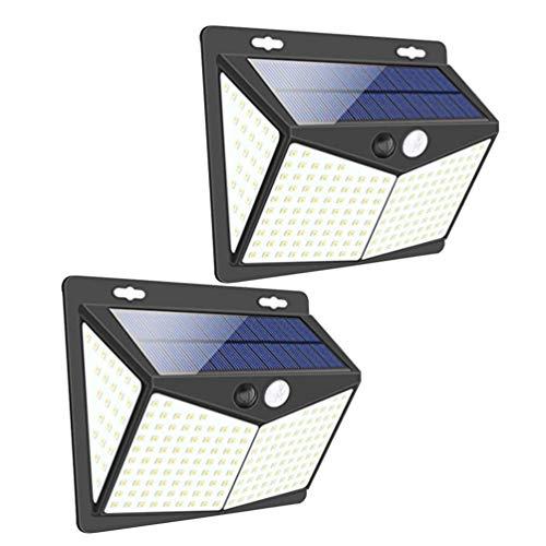 Uonlytech - Juego de 2 lámparas solares para exteriores, 208 ledes, sensor de movimiento, resistente al agua, luz nocturna para pared, jardín, pasillo, garaje, porche