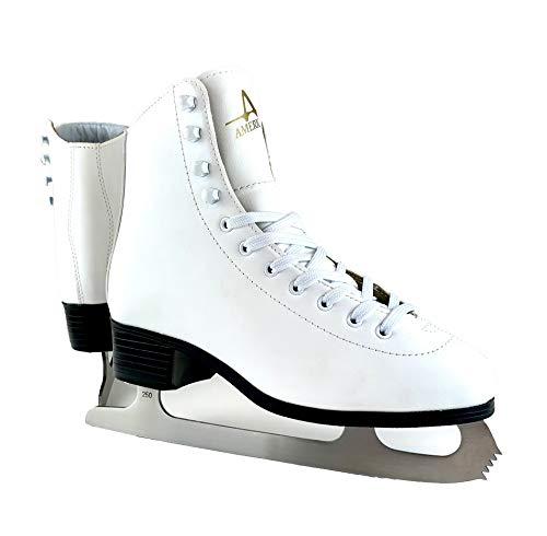 American Athletic Shoe Women's Tricot Lined Ice Skates, White, 5 (52205)