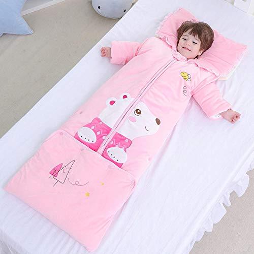 TAYIBO Mantas de Bebes Recien Nacidos de niña,Saco de Dormir cálido de Invierno para niños, Oso de Ante Largo de Bosque, Anti-Patada-Rosa_0-6 años