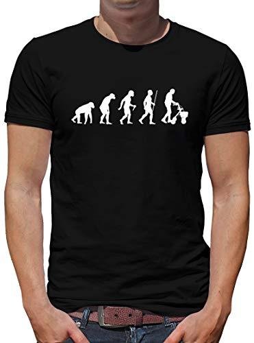 TShirt-People Evolution Rollator T-Shirt Herren Oma Spass Fun Nerd S Schwarz