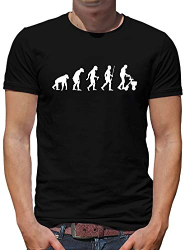 TShirt-People Evolution Rollator T-Shirt Herren Oma Spass Fun Nerd XL Schwarz