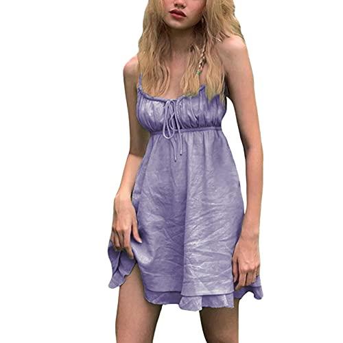 ERZU Vestido Casual de Manga Corta con Hombros Descubiertos para Mujer | Falda sin Espalda Halter Fruncido con Volantes Verde púrpura | Mini Vestido | Cómodo - Fácil combinación | S/M/L