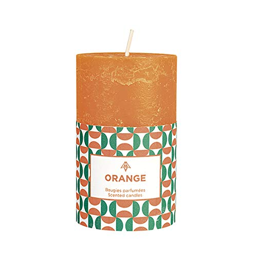 Vela perfumada navideña. Marca CERABELLA Medidas 10x6 cm de Alto. duracion 48 Horas de Encendido (Naranja)