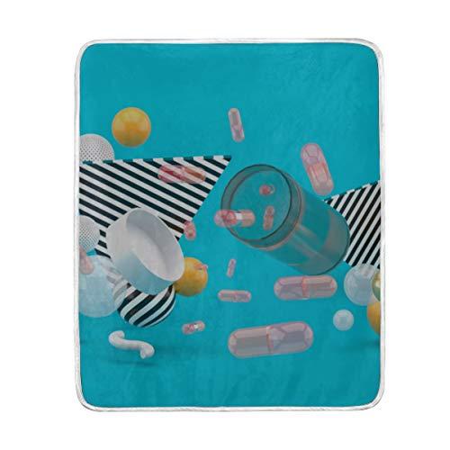 "GGKDL Throw Blanket Floating Medicine Bottle Surrounded by Colorful Soft Blanket Warm Plush Blanket for Sofa Chair Bed Office Gift Best Friend Women Men 50""x60"" Teen Throw Blanket"