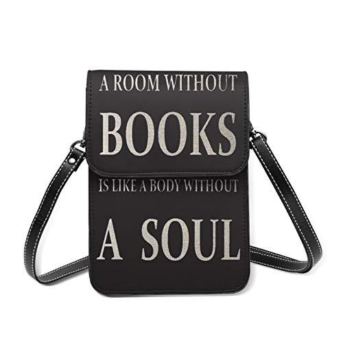 スマホポーチ レディースショルダーバッグ 就寝後に読んだ本好き読書会 財布斜めかけバッグ 多機能 小物入れ カワイイ キフト 13.5CMX19CM