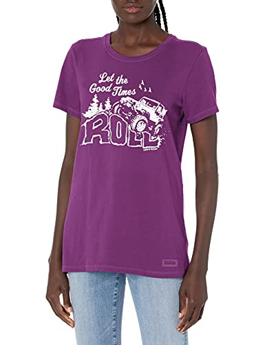 Life Is Good Damen Standard Crusher Graphic T-Shirt, Happy Plum, Größe S