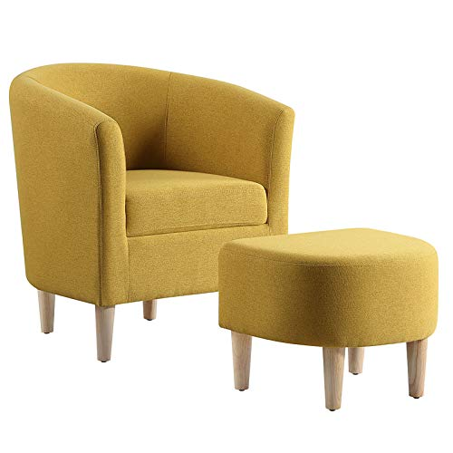 DAZONE Modern Accent Chair, Upholstered Arm Chair Linen Fabric Single Sofa Chair with Ottoman Foot Rest Mustard Yellow