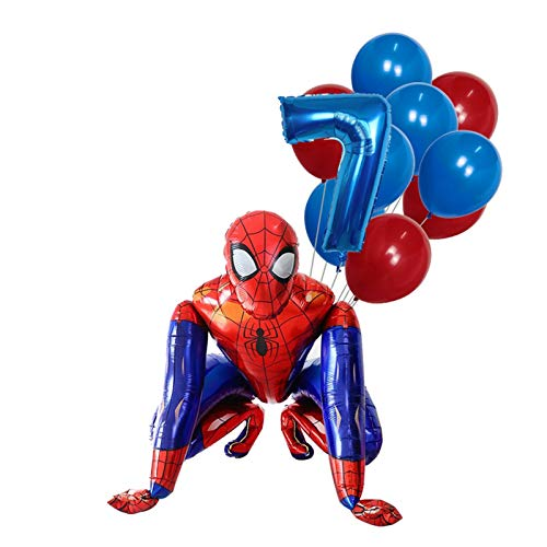 JSJJAET Birthday balloons 1Set 3D Big Spiderman Super Hero Foil Balloon Number Birthday Party Decoration Kids Iron Man Children's Toy Gifts (Color : 7)