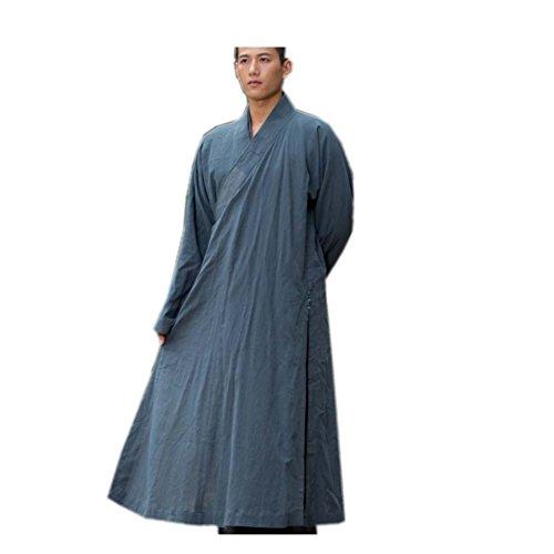 KATUO Abito lungo da uomo tradizionale buddista meditazione Robe grigio Grigio S