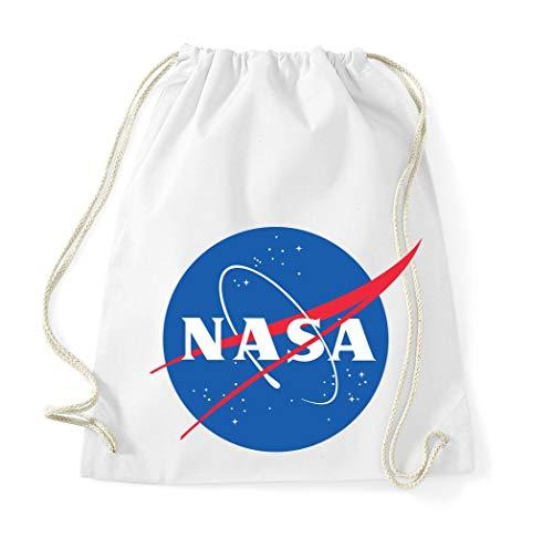 TRVPPY Baumwolltasche Turnbeutel Tasche Modell NASA - Weiß