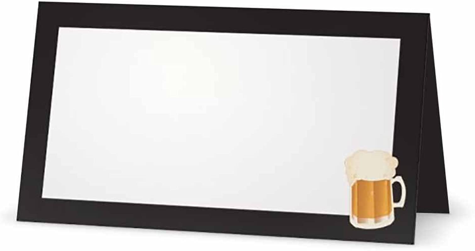 Beer On Black Place Cards Tent Style 10 Pack White Blank Front With Solid Color Black Border Placement Table Name Seating Stationery Party Supplies Occasion Or Dinner Event