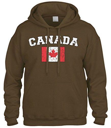 Cybertela Faded Distressed Canada Flag Sweatshirt Hoodie Hoody (Brown, Large)