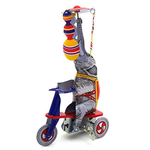 Kylewo Juguete de Regalo de Elefante para niños, Elefante en Triciclo Vintage Coleccionable Retro Juguetes de hojalata