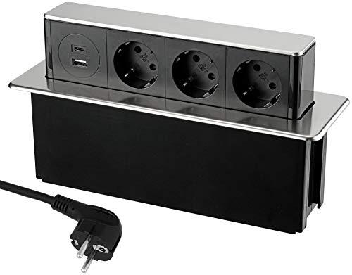 Versenkbare 3-Fach Aluminium Einbau-Steckdosenleiste - USB-A USB-C - mit Dämpfung - mit Netzkabel - 230V 16A 3600W