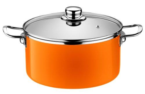 Monix Mandarina - Cacerola alta 24 cm de acero esmaltado naranja con antiadherente Teflon® Classic.