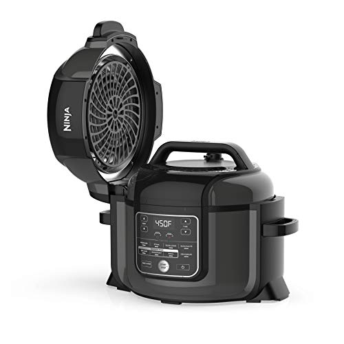Ninja OP302 Foodi Cooker, Steamer & Air w/TenderCrisp Technology Pressure Cooker & Air Fryer All-in-One, 6.5 quart w/dehydrate, Black/Gray