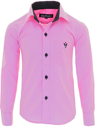 GILLSONZ A7vDa Kinder Party Hemd Freizeit Hemd bügelleicht Lange Arm mit 10 Farben Gr.86Bis158 (128/134, Rosa)