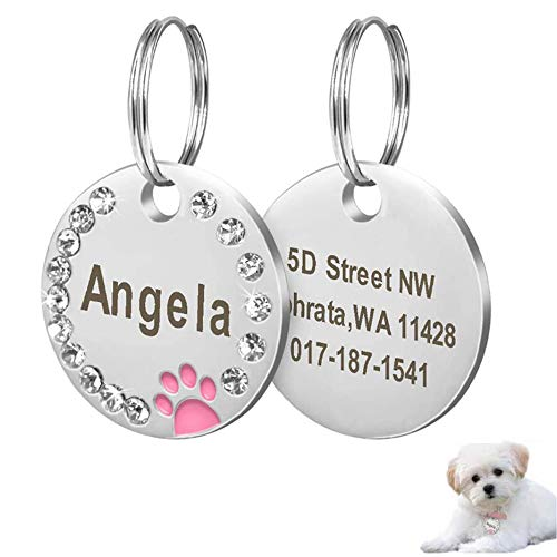 ZTZ Custom Pet ID Tags Paw Print Round Stainless Steel Pet Tag for Dogs and Cats, Gift for Dog Cats Owner
