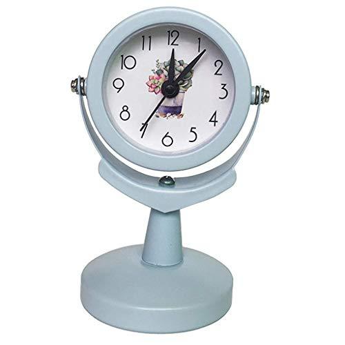 YLLN Energía eléctrica Mini Reloj Despertador Movimiento de Cuarzo Habitación para niños Reloj de cabecera Soporte Libre de Tiempo, Estante de exhibición, Silencioso, Cuarzo Azul, 6 x 9.5cm