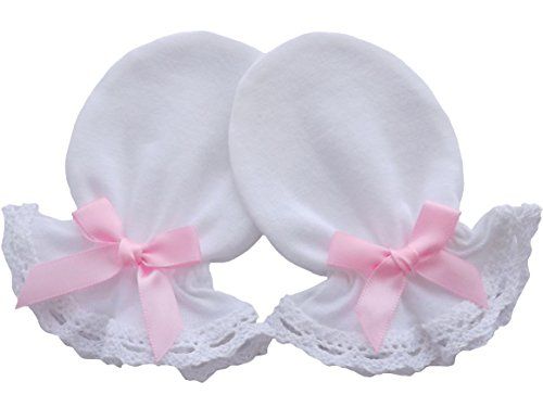 DaBa Baby Moufles de baptême en coton jersey pour nouveau-né anti-rayures et dentelle Blanc - Blanc - 0-3 mois