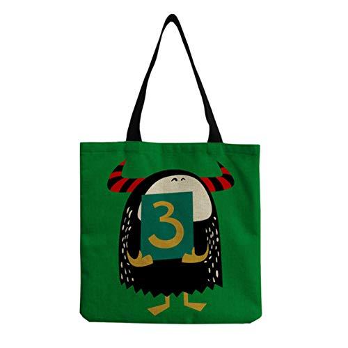 JCNL Daily All-Match Lino Señoras Bolso de Dibujos Animados Lindo Animal Personalidad Número 3 Bolso de Hombro Protección ecológica Fiambrera Reutilizable Bolsa-hm0626