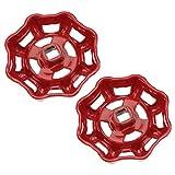 Cabilock Válvula de rueda de hierro (2 unidades, 7 x 7 mm), color rojo
