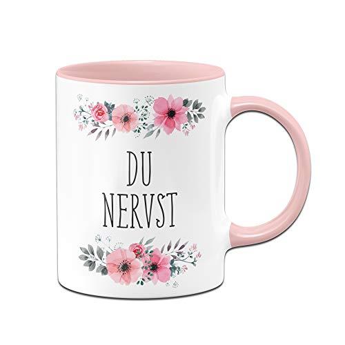 Tassebrennerei Tasse mit Spruch Du Nervst - Bürotasse als Geschenk für Kollegen, Kollegin Tassen mit Sprüchen lustig (Rosa)