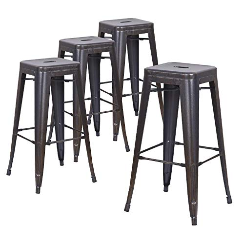 LCH 30' Backless Metal Bar Stools Set of 4 Industrial Chic Modern...