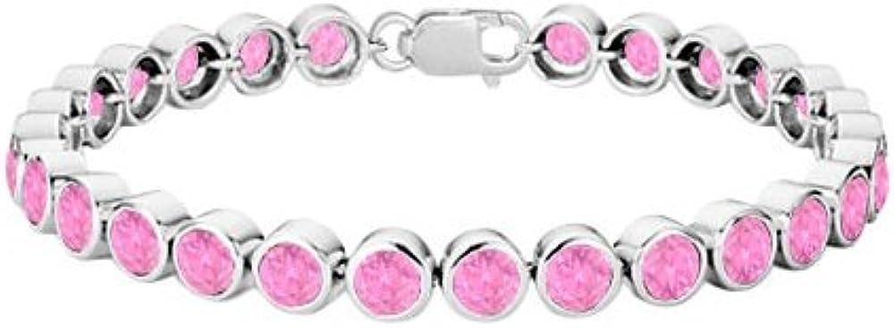 Pink Topaz Bezel Set Tennis Bracelet 925 Sterling Silver 25.00 C
