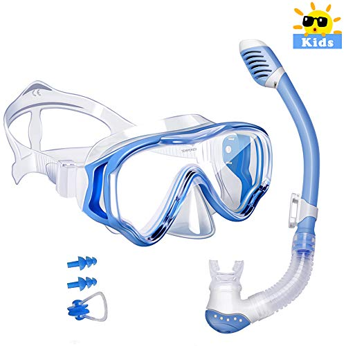 Powsure Kids Snorkel Set Dry Top Seaview Snorkel Mask for Children, Boys, Girls,Youth, Big Eyes Anti-Fog Coated Glass Snorkeling Mask, Easybreath with Silicon Mouth Piece for Swimming, Diving (Blue)