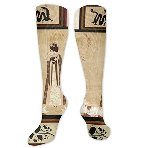 Japanese Funny Compression Socks Women and Men,Girl In Traditional Dress And Cultural Patterns,Best for Circulation,Running,Athletic,Nurse,Travel,Multicolor -19.8 inch