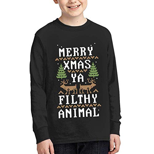 Youth Fit Long Sleeve Crew Neck Cotton Merry Xmas Ya Filthy Animal Tee Top for Youth