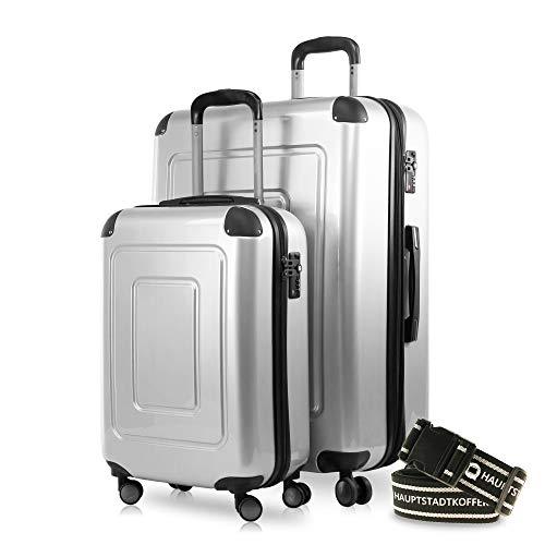 Happy Trolley - 2er Koffer-Set Trolley-Set Rollkoffer Hartschalen-Koffer Reisekoffer Lugano sehr leicht, TSA, (S+XL), Silber +Gepäckgurt