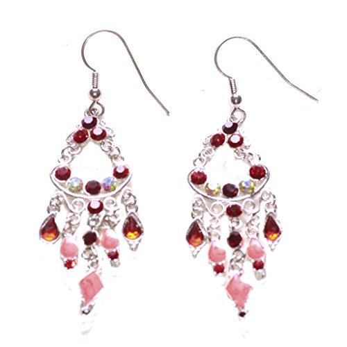 Majestic & Grand diamantes, color rojo y rosa esmalte cromo lámpara de...