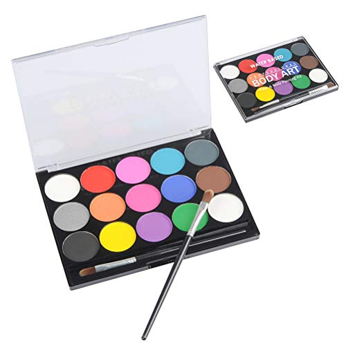 CJMM Kinderschminke Set Face Paint für Kinder,15 Farben Hypoallergen Make-up-Palette-Safe & Wasserbasiert und Ungiftig,FDA genehmigt, ideal für Halloween Party Face Painting