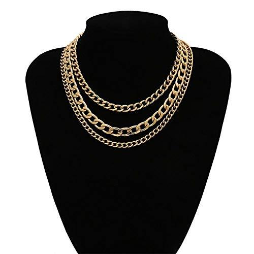 LHXMY Glamour Lady Punk Gemischt Dicke Kette Mehrschichtige Quaste Gothic Pullover Kette Frauen Geometrische Einfache Halskette, Goldkette