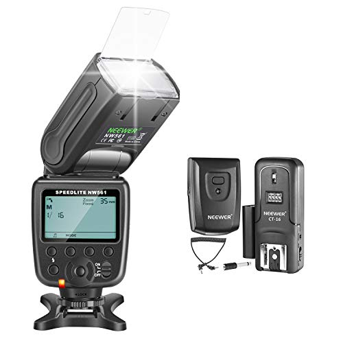 Neewer NW-561 GN38 Manual LCD Display Speedlite Flash Kit for Canon Nikon and Other DSLR Cameras, Includes: NW561 Flash, CT-16 Wireless Trigger, Microfiber Cleaning Cloth
