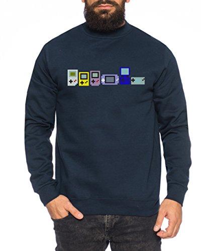 Big Gamerevo Bang Nerd Theory Sheldon Gameboy Herren Sweatshirt Pullover Sweat, Größe:L, Farbe:Navy