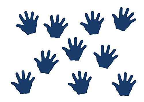 Miniblings 10x Transfert Tissu 26mm Aspect Velours Main Patch Mains Enfant I Patches à Repasser Repassage, Color:Bleu