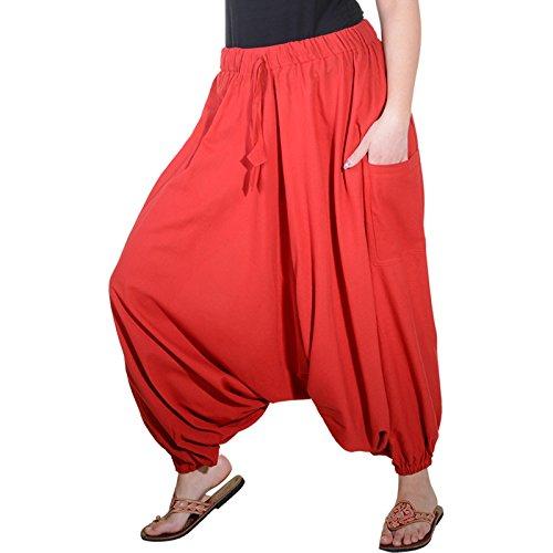 KUNST UND MAGIE Orientalische Haremshose one Size in vielen Farben, Farbe:Rot