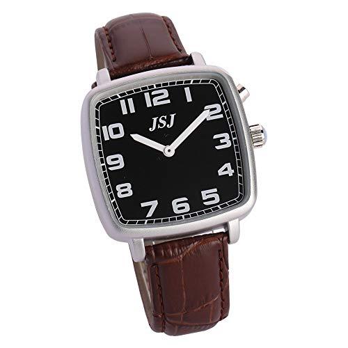 Reloj parlante analógico de forma cuadrada con función de alarma, anuncio de hora y fecha en francés, esfera negra, correa de piel marrón TFSW-1714F
