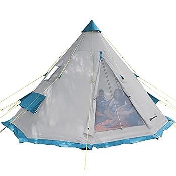 Skandika Tipii - Tente tipi Indien de Camping pour 6 Personnes - Tapis Sol Cousu, moustiquaire - Diamètre 365 cm - Hauteur de 2,5 m