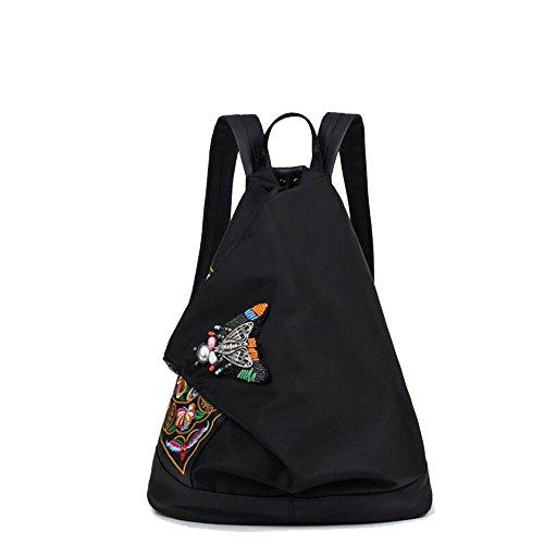 SON-bag Frauen Mädchen Vintage Ethno Style Rucksack Stickerei Umhängetaschen Canvas Satchel Unique Design Rucksack (Farbe : Schwarz, Größe : One Size)