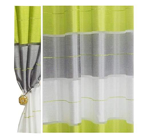 Halbtransparent Ösenvorhang Ösenschal Schal Dekoschal für Fenster Dekorative Gardine Farben Streifen 2er Set Vorhänge mit Ösen 145x245 cm AGV (V13)