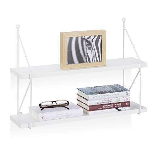 Relaxdays Estantería de Pared con 2 Niveles, Madera, Blanco, 42 x 60 x 16 cm