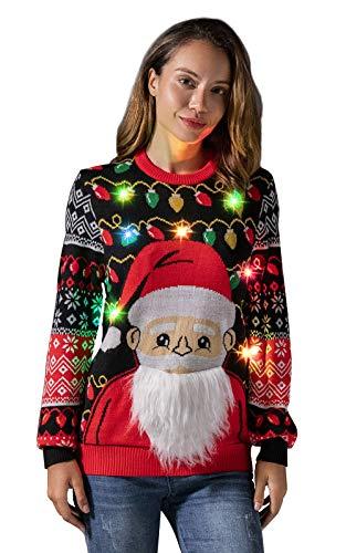 U LOOK UGLY TODAY Jersey de Navidad para hombre con luz LED, divertido suéter de punto para Navidad, con lámpara LED, diseño navideño Santa Shine. XXL