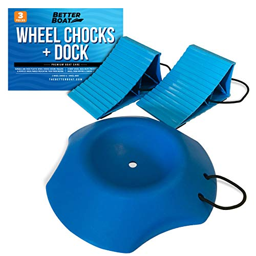 2 Wheel Chocks with Rope and Wheel Dock for Boat Trailer Travel Camper and RV Accessories