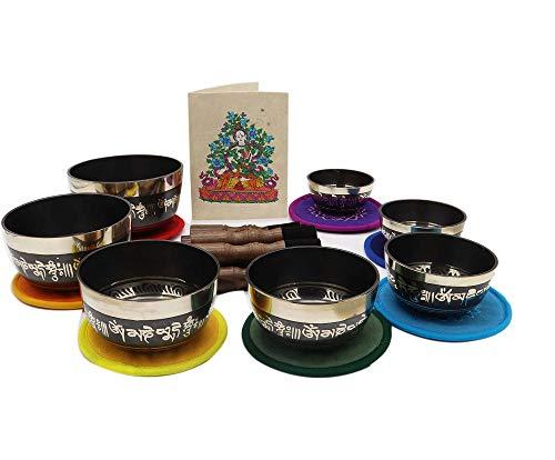 KHUSI Tibetan Singing Bowl Set - Antique Traditional Handcrafted Mantra Buddha Design Meditation Sound Bowl - Ideal for Meditation, Yoga, Mindfulness Healing Usage - Set of 7