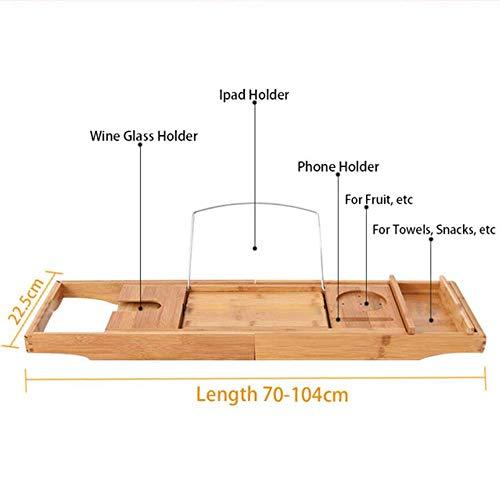 HYLH Support de Baignoire en Bambou Multi-Fonctionnel pour bac à Douche rétractable pour téléphone Rangement pour Tablette Support à Livre pour vin Étagère pour Baignoire, 1