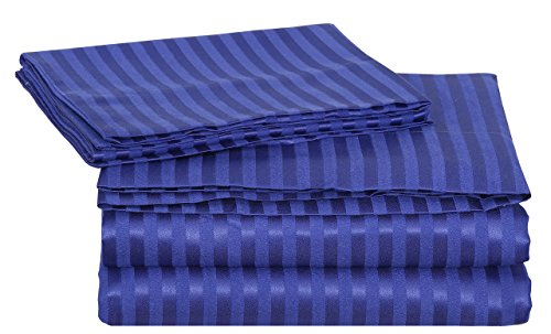 SRP Linen Egyptian Cotton 300-Thread-Count Super Soft 3PCs Zipper Closure Designer Duvet Cover Set Euro Double IKEA Striped Royal Blue